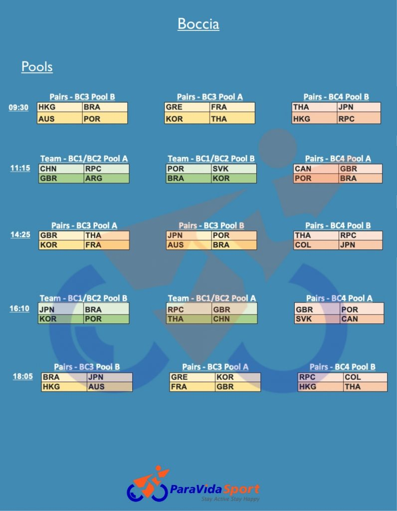 boccia schedule